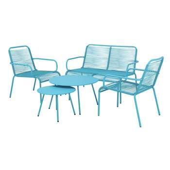 Argos Home Ipanema 4 Seater Rattan Effect Sofa Set - Blue