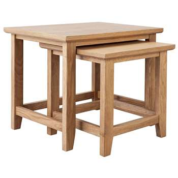 Argos Home Islington Nest of 2 Oak Veneer Tables (H50 x W61 x D46cm)