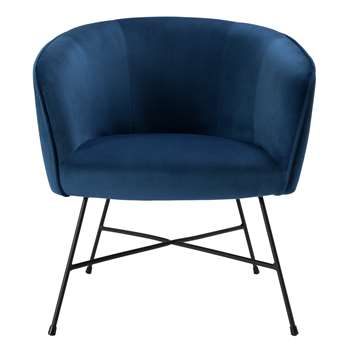 Habitat Jax Velvet Accent Chair - Navy (H78 x W72 x D69cm)