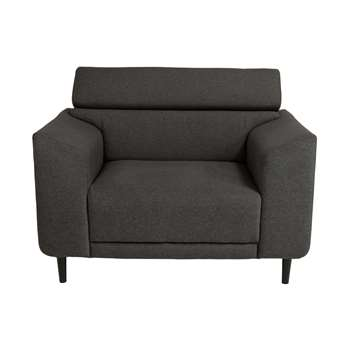Argos Home Jonas Fabric Cuddle Chair - Charcoal (H93 x W133 x D93.5cm)