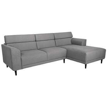 Argos Home Jonas Right Corner Fabric Sofa - Light Grey (H91 x W293.5 x D172cm)