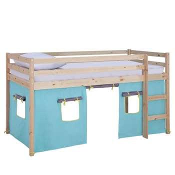 Argos Home Kaycie Pine Mid Sleeper, Blue Tent & Kids Mattress (H111 x W102 x D196cm)