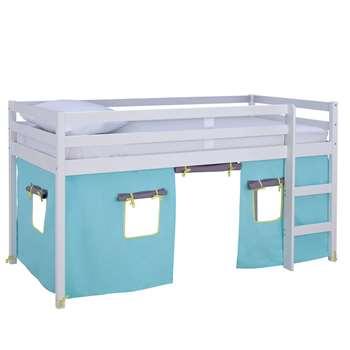 Argos Home Kaycie White Midsleeper, Blue Tent & Kids Mattress (H111 x W102 x D196cm)