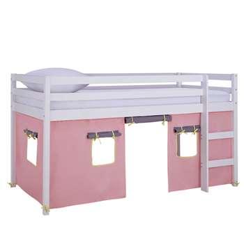 Argos Home Kaycie White Midsleeper, Rose Tent & Mattress (H111 x W102 x D196cm)