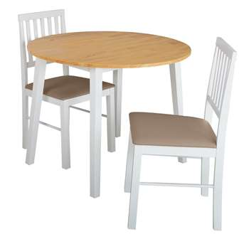 Argos Home Kendal Round Drop Leaf Table 2 Chairs -Two Tone