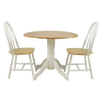 Argos Home Kentucky Drop Leaf Table and 2 Chairs - Two Tone