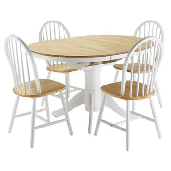 Argos Home Kentucky Ext Wood Veneer Table 4 Chairs -T Tone