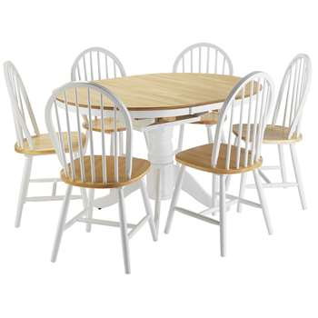 Argos Home Kentucky Ext Wood Veneer Table & 6 Chairs - T Tone