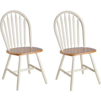 Argos Home Kentucky Pair of Solid Wood Chairs - Two Tone (H92 x W43 x D44cm)