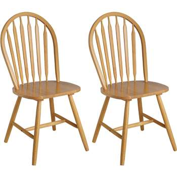 Argos Home Kentucky Pair of Solid Wood Dining Chairs (H92 x W43 x D44cm)