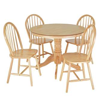Argos Home Kentucky Wood Veneer Table & 4 Chairs - Natural (H76 x W43 x D44cm)