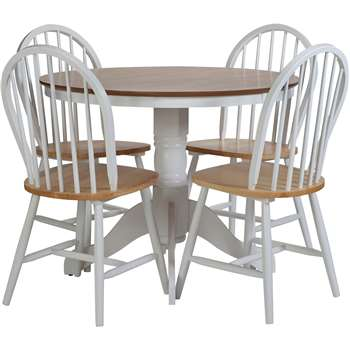 Argos Home Kentucky Wood Veneer Table & 4 Chairs - Two Tone