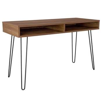 Argos Home Klark Hairpin Office Desk - Dark Wood Effect (H75 x W120 x D50cm)