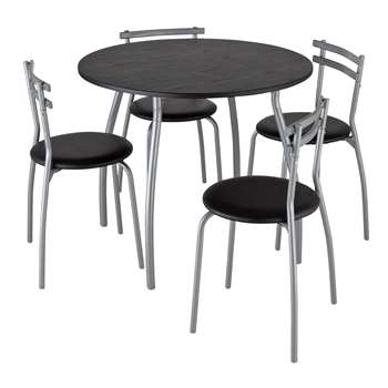 Argos Home Leon Black Round Dining Table & 4 Black Chairs