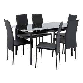Argos Home Lido Extendable Glass Table & 6 Chairs - Black