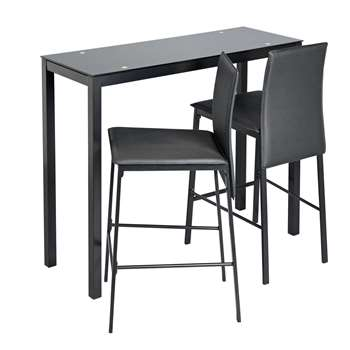 Argos Home Lido Glass Bar Table and 2 Chairs - Black