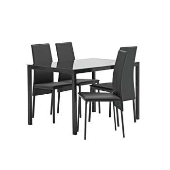 Argos Home Lido Glass Dining Table & 4 Chairs - Black