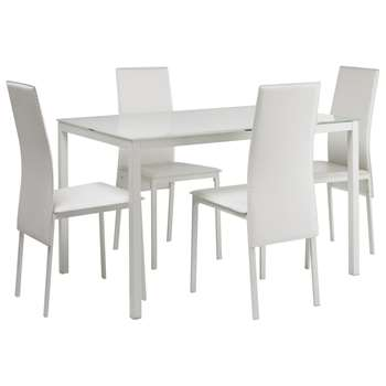 Argos Home Lido Glass Dining Table & 4 Chairs - White