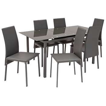Argos Home Lido Glass Extendable Dining Table & 6 Chairs - Grey