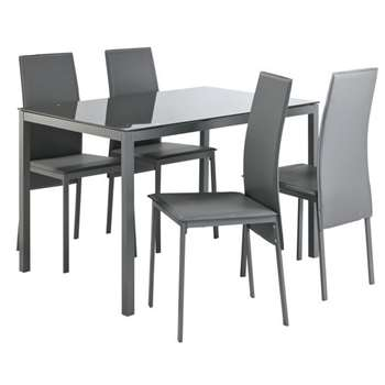 Argos Home Lido Glass Table & 4 Chairs - Grey