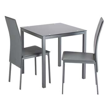 Argos Home Lido Glass Table and 2 Chairs - Grey