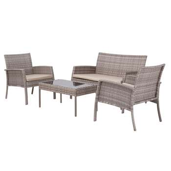 Argos Home Lucia 4 Seater Rattan Effect Sofa Set - Grey
