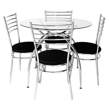 Argos Home Lusi Glass Dining Table and 4 Chairs - Black