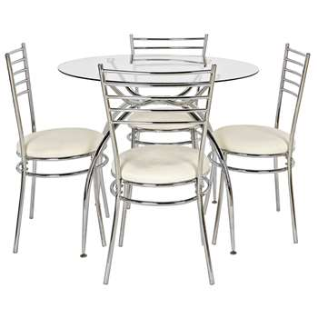 Argos Home Lusi Glass Dining Table and 4 Chairs - Cream