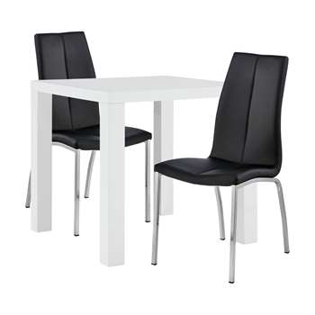 Argos Home Lyssa Dining Table & 2 Milo Chairs - Black