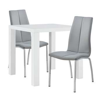 Argos Home Lyssa Dining Table & 2 Milo Chairs - Grey