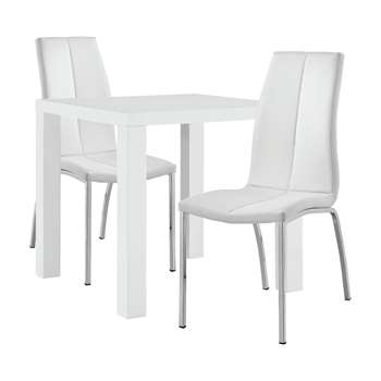 Argos Home Lyssa Dining Table & 2 Milo Chairs - White
