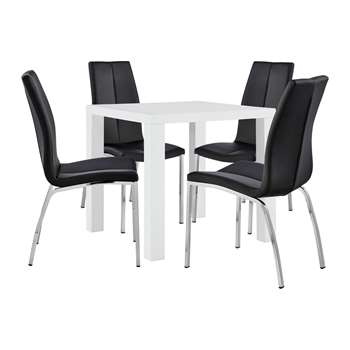 Argos Home Lyssa Dining Table & 4 Milo Chairs - Black