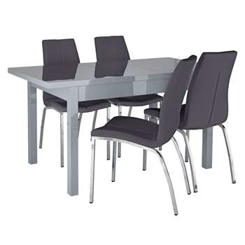 Argos Home Lyssa Extendable Grey Table & 4 Milo Chairs-Black