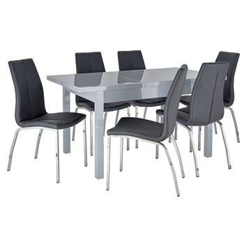 Argos Home Lyssa Extendable Grey Table & 6 Milo Chairs - Black