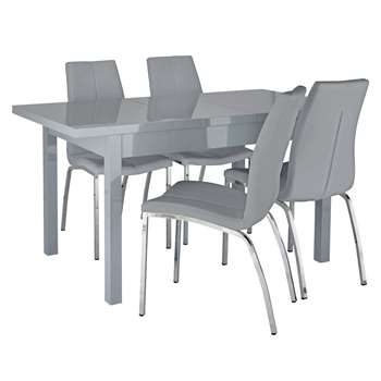 Argos Home Lyssa Extendable Grey Table & 4 Milo Chairs - Grey