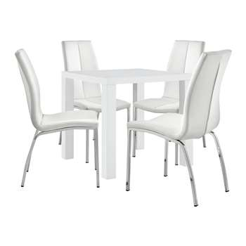 Argos Home Lyssa Small Dining Table & 4 Milo Chairs - White