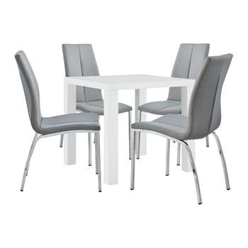 Argos Home Lyssa Small Dining Table & 4 Milo Chairs - Grey