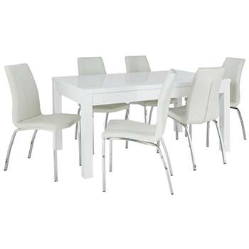 Argos Home Lyssa XL Extendable Table & 6 Milo Chairs - Ivory
