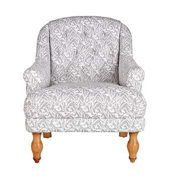 Argos Home Macy Fabric Armchair - Floral Light Grey (H94 x W77 x D85cm)