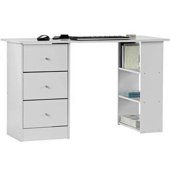 Argos Home Malibu 3 Drawer Office Desk - White (H72 x W120 x D49cm)
