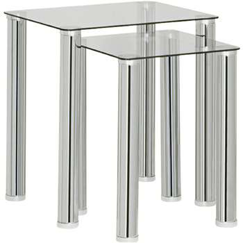 Argos Home - Matrix Nest of 2 Tables - Clear Glass (H50 x W45 x D35cm)