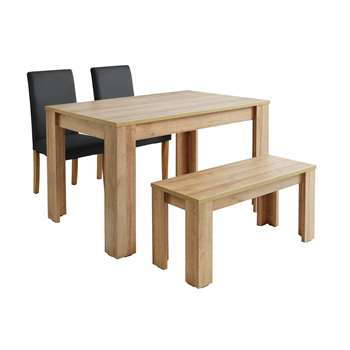 Argos Home Miami 120cm Dining Table with Bench & 2 Chairs