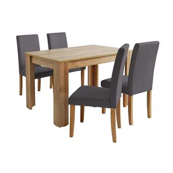 Argos Home Miami Dining Table & 4 Midback Chairs - Charcoal