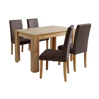 Argos Home Miami Dining Table & 4 Midback Chairs - Chocolate