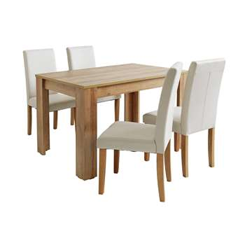 Argos Home Miami Dining Table and 4 Midback Chairs - Cream