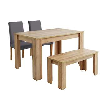 Argos Home Miami Dining Table with Bench & Chairs