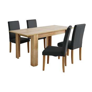 Argos Home Miami Extendable Dining Table & 4 Chairs - Black