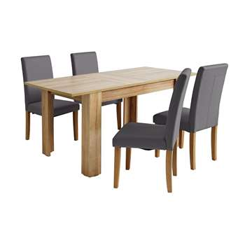 Argos Home Miami Extendable Dining Table & 4 Chairs - Ccoal