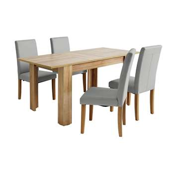 Argos Home Miami Extendable Dining Table & 4 Chairs - Grey
