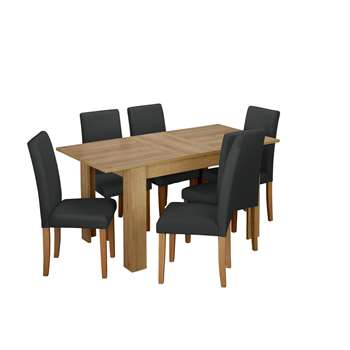 Argos Home Miami Extendable Dining Table & 6 Chairs - Black